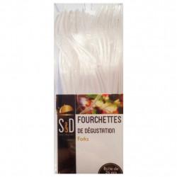 BOITE DE 24 FOURCHETTES DE DEGUSTATION PLASTIQUE 10 CM