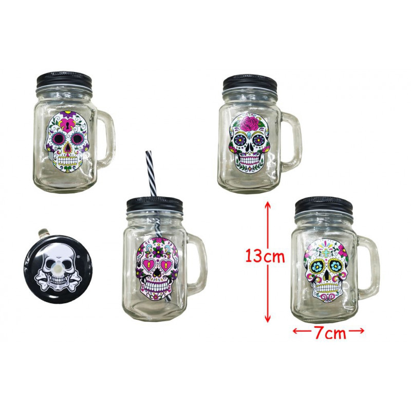 MASON JAR TETE DE MORT MEXICAINE 45 CL