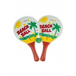 SET DE 2 RAQUETTES BEACH BALL EN BOIS